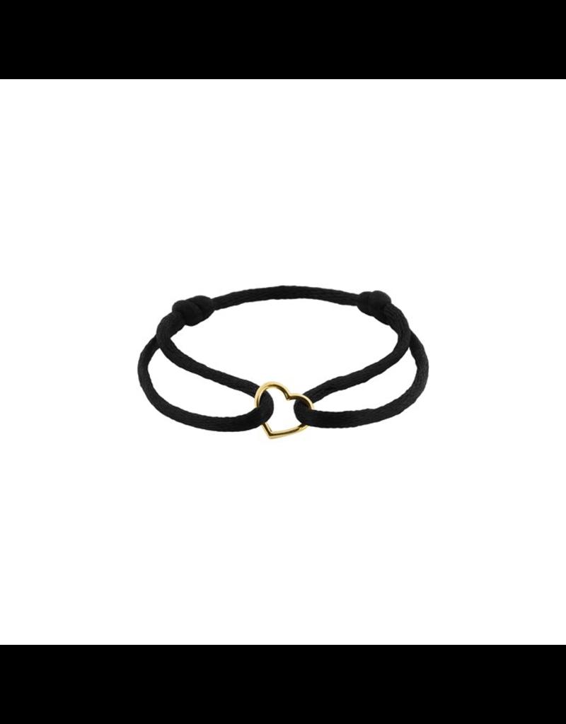 Huiscollectie - Goud Armband Satijn zwart met 14 Krt goud symbool