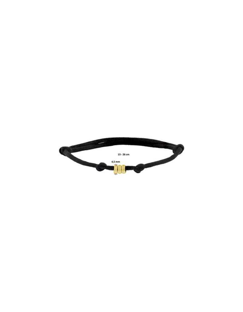 Huiscollectie - Goud 47.00089 Armband Satijn zwart met 14 Krt goud symbool