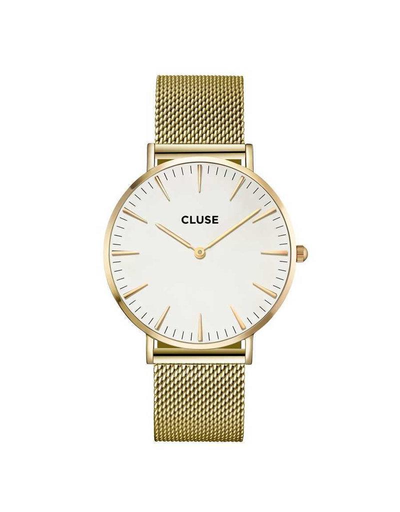 Cluse CW0101201009 LA Bohème Mesh Gold White horloge