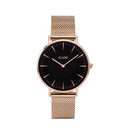 Cluse CW0101201003 LA Bohème Mesh Rose Gold Black horloge