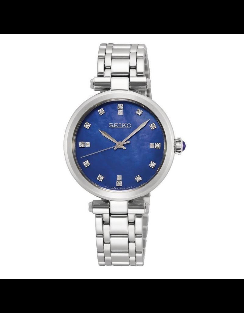Seiko Seiko SRZ531P1 Horloge Dames staal blauw Mop met Diamant