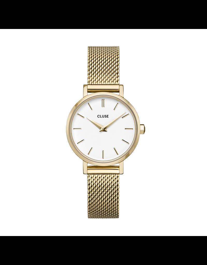 Cluse Cluse CW0101211001 Horloge La Boheme Petite Mesh White/Gold