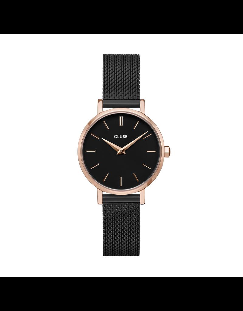 Cluse Cluse CW0101211004 Horloge La Boheme Petite Mesh Rosé Gold Black/Black