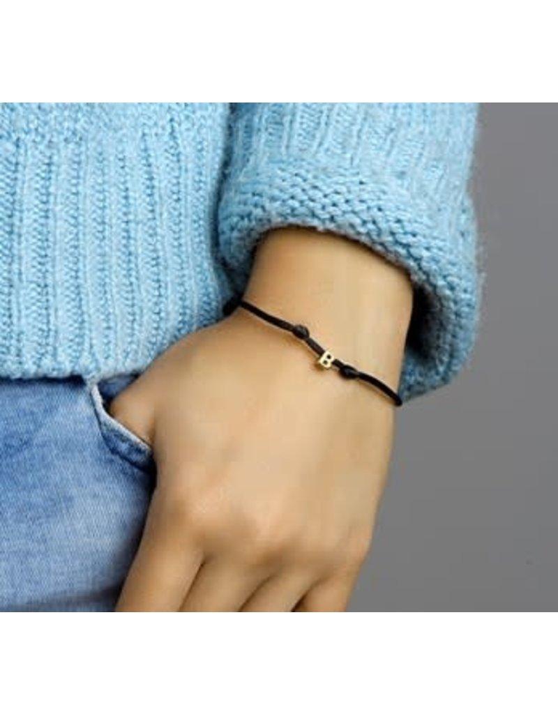 Huiscollectie - Goud Armband 47.00030 Satijn met Letter 14 krt goud Letter B