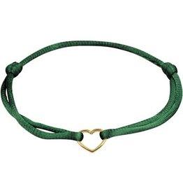 Huiscollectie - Goud Armband 47.00125 Satijn groen met 14 Krt goud symbool