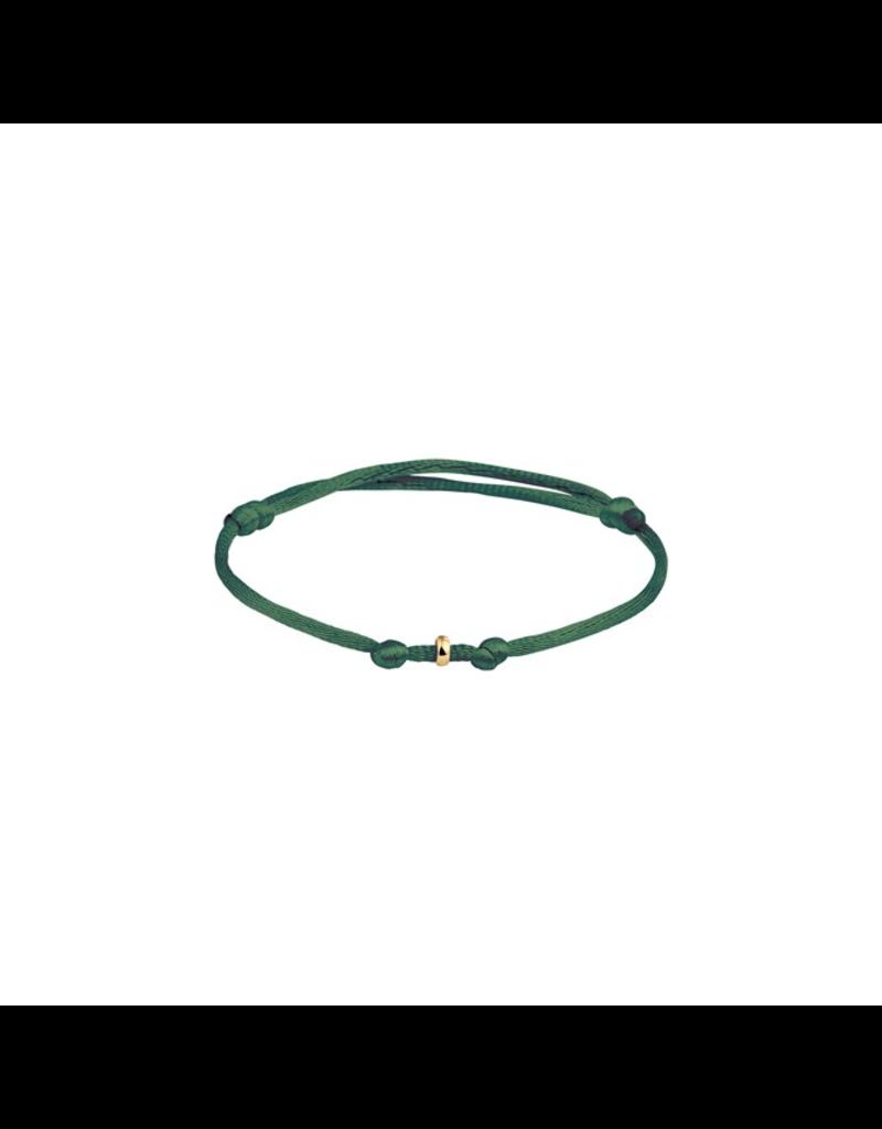 Huiscollectie - Goud Armband 47.00118 Satijn groen met 14 Krt goud symbool