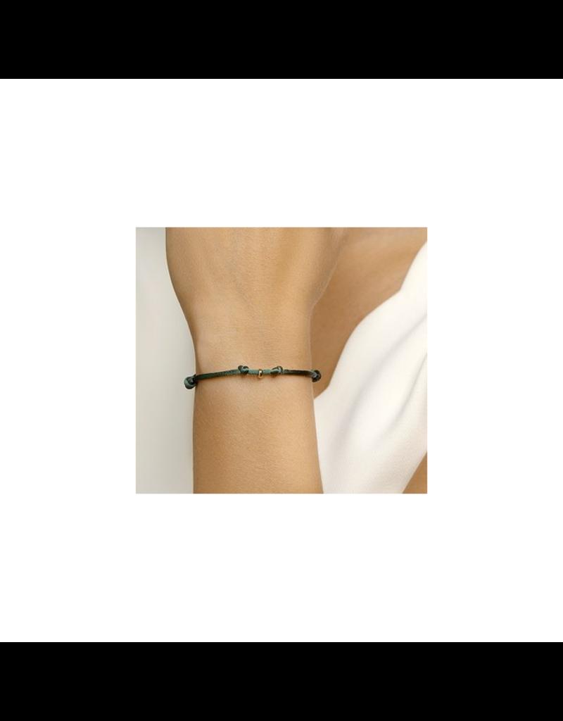 Blinckers Jewelry Huiscollectie Armband 47.00118 Satijn groen met 14 Krt goud symbool