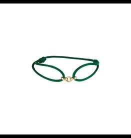 Huiscollectie - Goud Armband Satijn met 14 Krt goud symbool groen