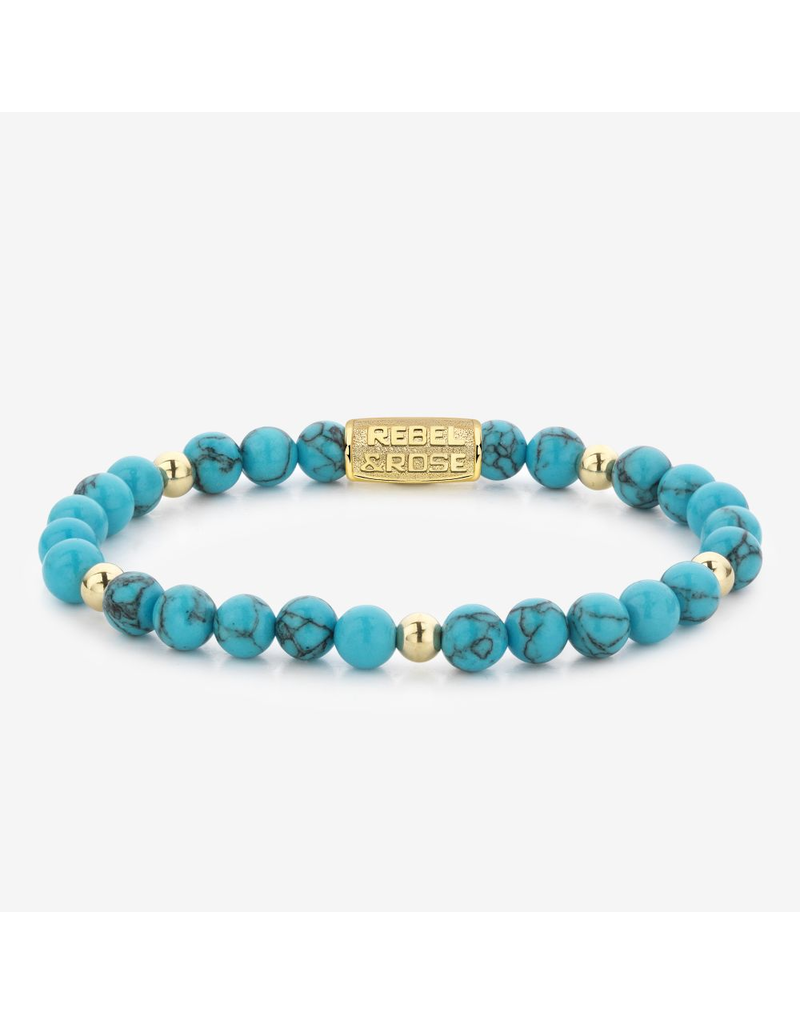Rebel&Rose Rebel&Rose RR-60071-G-S Armband Turquoise delight - 6MM- Yellow Gold plated S