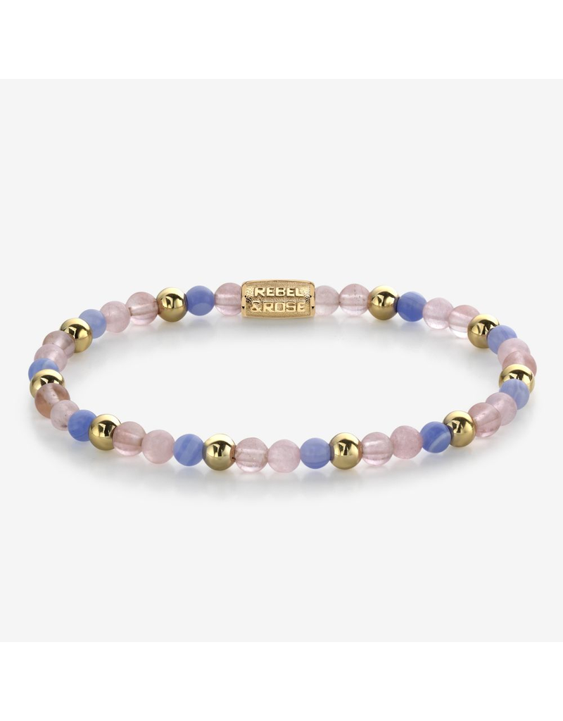 Rebel&Rose Rebel&Rose RR-40056-G-S Armband Pink Summer Vibes - 4MM- Yellow Gold plated S