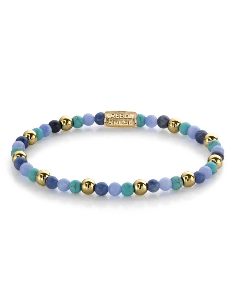 Rebel&Rose Rebel&Rose RR-40055-G-S Armband Winter Blues - 4MM- Yellow Gold plated S