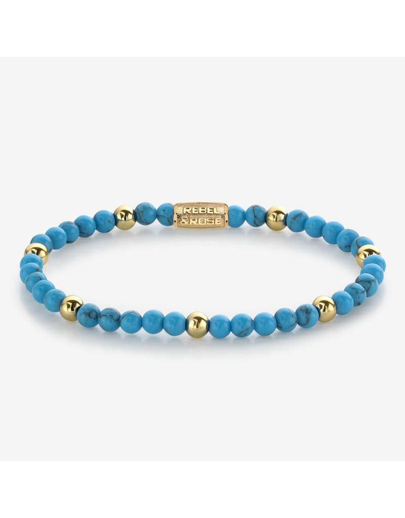Rebel&Rose Rebel&Rose RR-40059-G-S Armband Turquoise delight - 4MM- Yellow Gold plated S