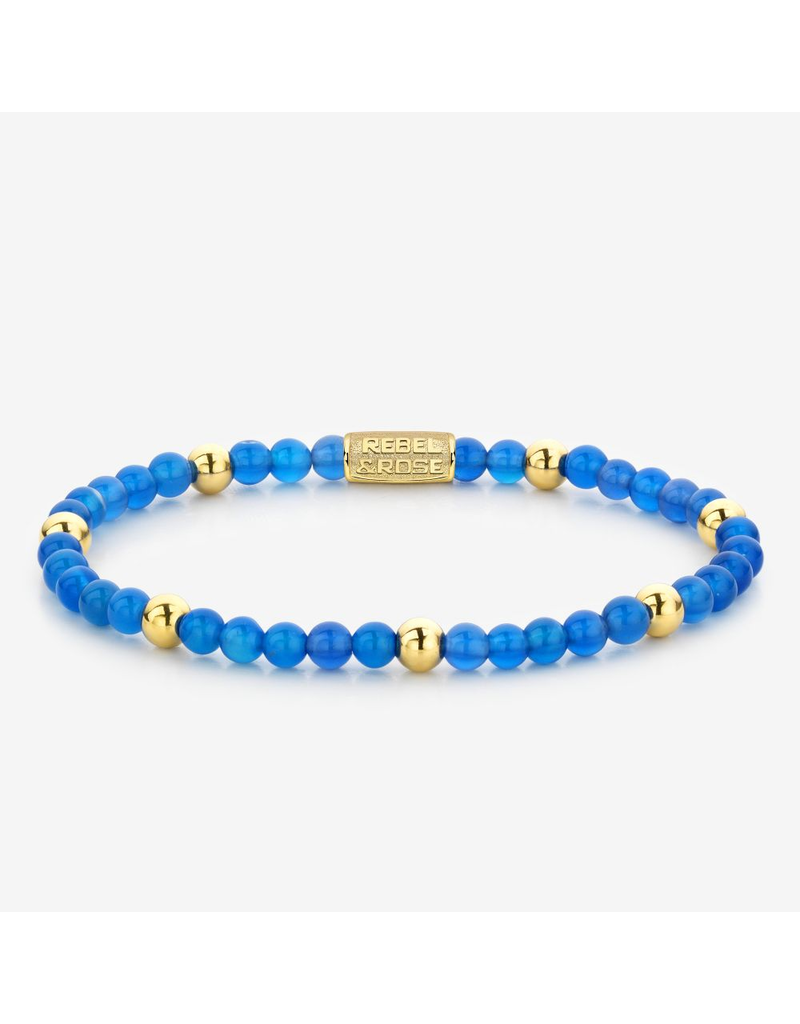 Rebel&Rose Rebel&Rose RR-40047-G-S Armband Brightening Blue  - 4MM- Yellow Gold plated S