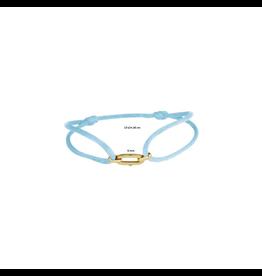 Huiscollectie - Goud Armband Satijn met 14 Krt goud symbool blauw