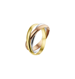 43.00460  Ring Tricolour 14 Krt goud Maat 18