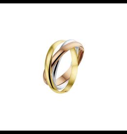 Blinckers Jewelry Huiscollectie 43.00460  Ring Tricolour 14 Krt goud Maat 18