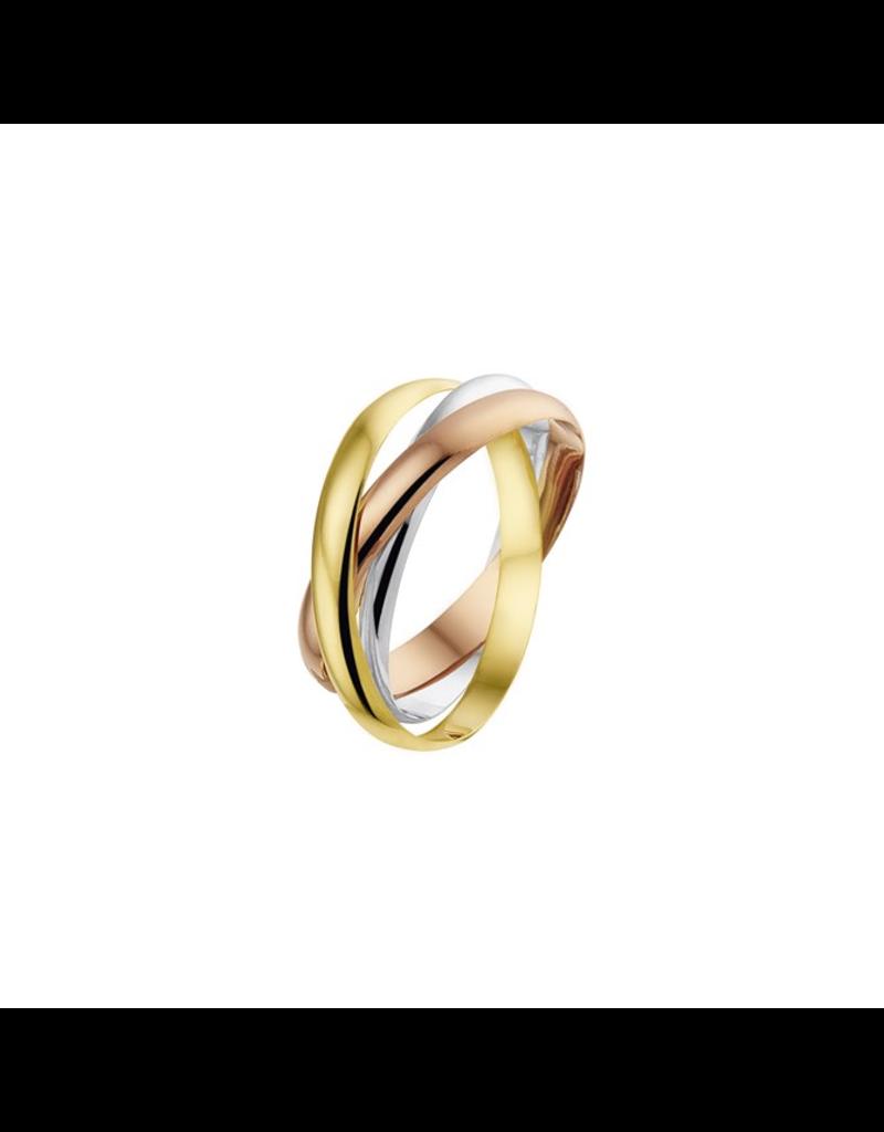 Blinckers Jewelry Huiscollectie  43.00460  Ring Tricolour 14 Krt goudb - Maat 18