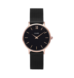Cluse Cluse CW0101203024 horloge Minuit Mesh Rosé Gold/ Black