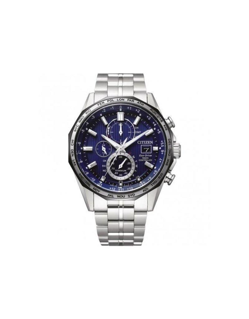 Citizen AT8218-81L heren horloge Titanium radio controlled staal /blauw