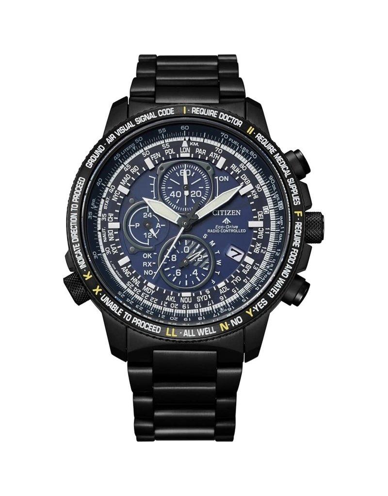 Citizen AT8195-85L heren horloge Titanium radio controlled antraciet /blauw