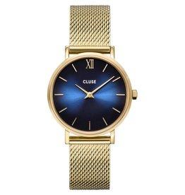 Cluse Cluse CW10202 horloge  Minuit Mesh gold, deep blue Fumé/ Gold