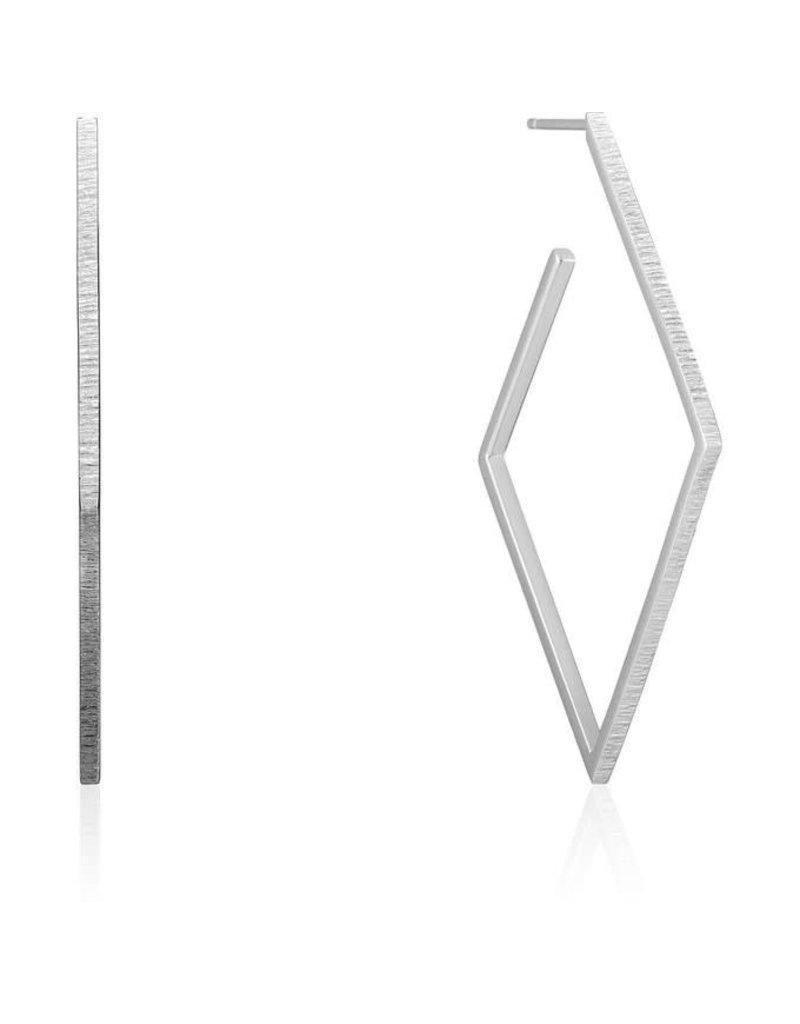 ANIA HAIE JEWELRY AH E023-22H Oorbellen Texture diamond hoop silver