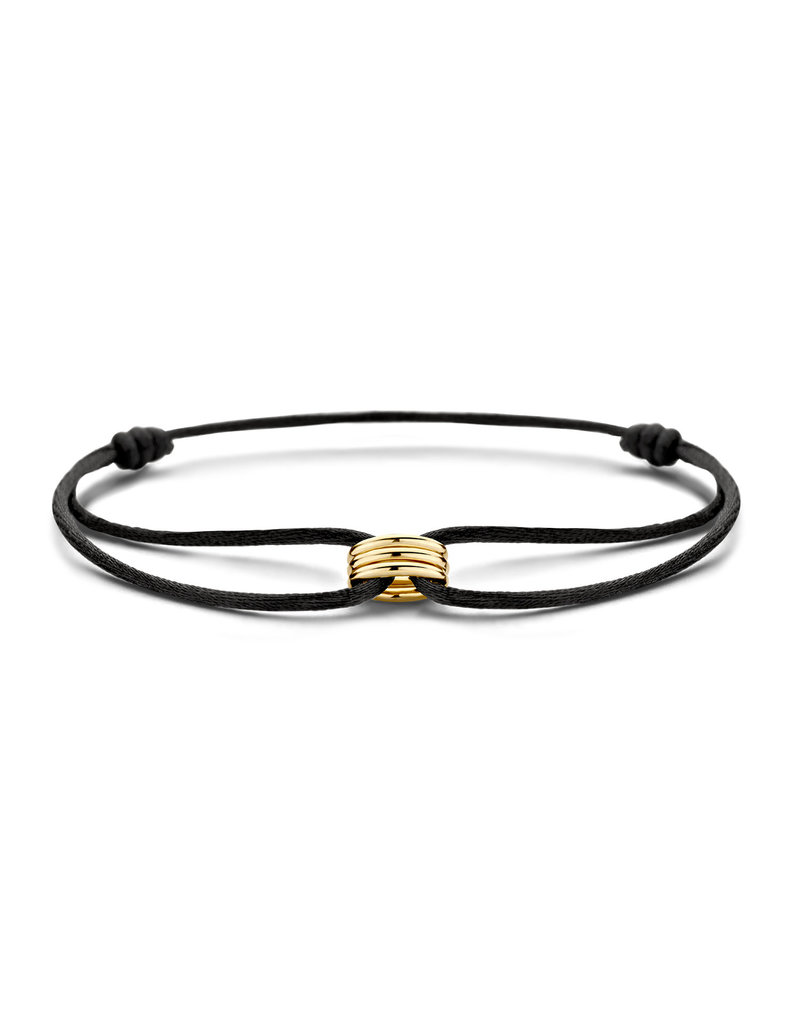 Blush Blush 2173YGO Armband Satijn zwart met 14 Krt Gouden bedel
