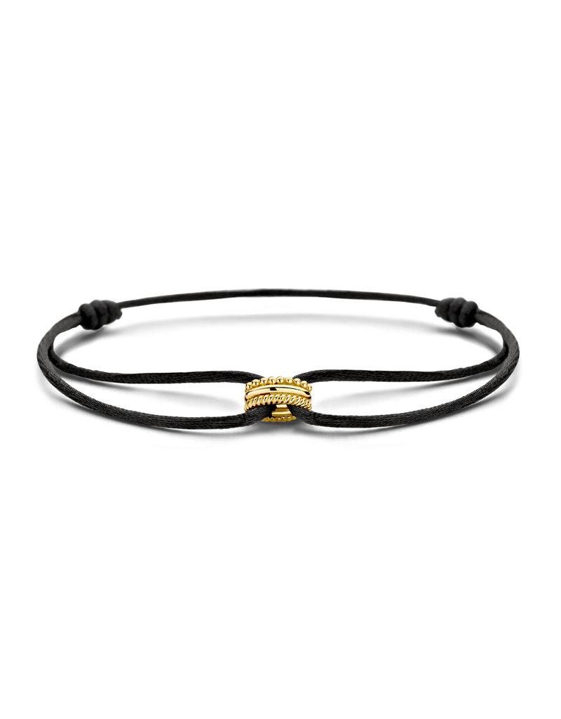 Blush Blush 2174YGO Armband Satijn zwart met 14 Krt Gouden bedel