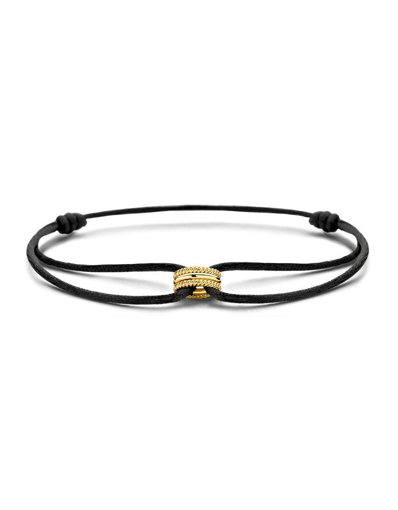 Blush Blush 2175YGO Armband Satijn zwart met 14 Krt Gouden bedel