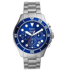 Fossil Fossil FS5724 Horloge heren chrono staal blauw