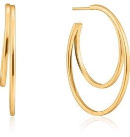 ANIA HAIE JEWELRY AH E023-10G Oorbellen crescent hoop zilver goudkleurig