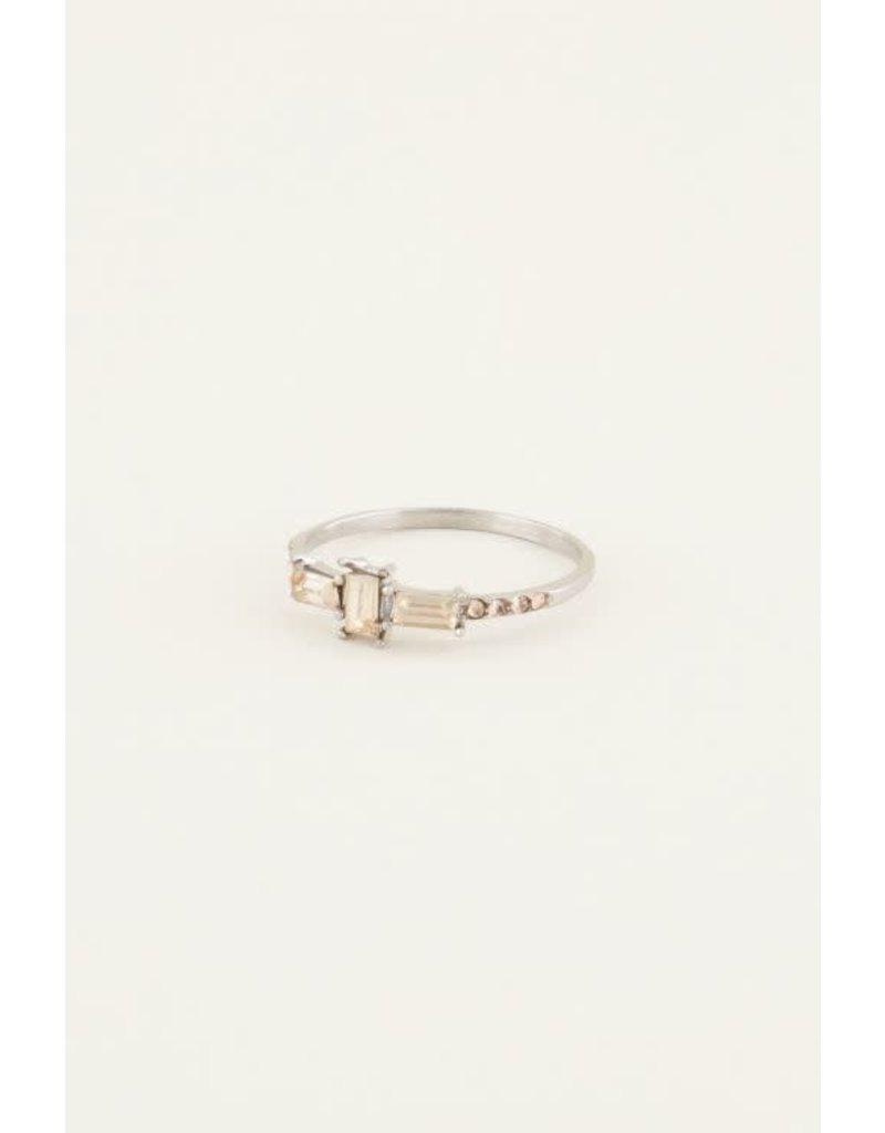 My Jewellery Ring rechthoekige steen - Zilver