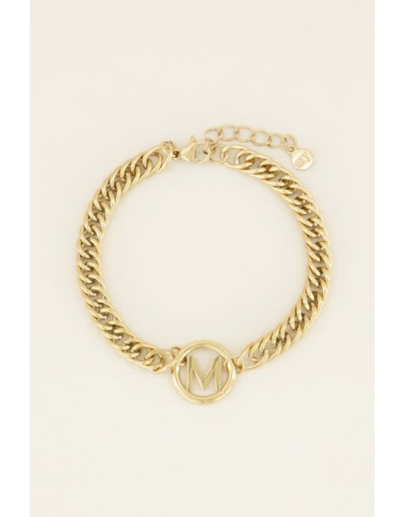 My Jewellery Armband Chunky Initials - Letter M - Goud