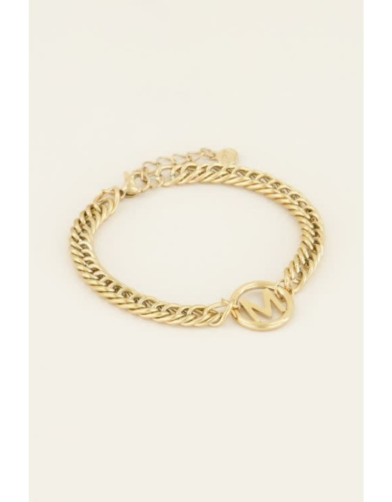 Armband Chunky Initials - Letter M - Goud