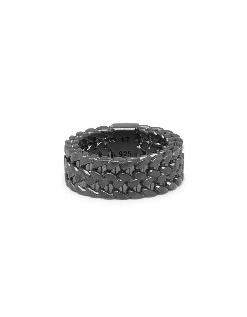 Buddha to Buddha 193BRS 21   Julius Ring Black Rhodium Silver