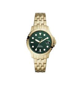 Fossil ES4746 Dames horloge staal met gold plating en groene wijzerplaat