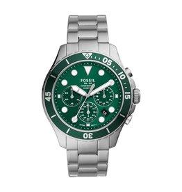Fossil FS5726 Fossil horloge staal diver groene wijzerplaat