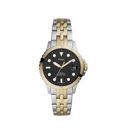 Fossil ES4745 Dames horloge  staal in Bicolor met zwarte wijzerplaat