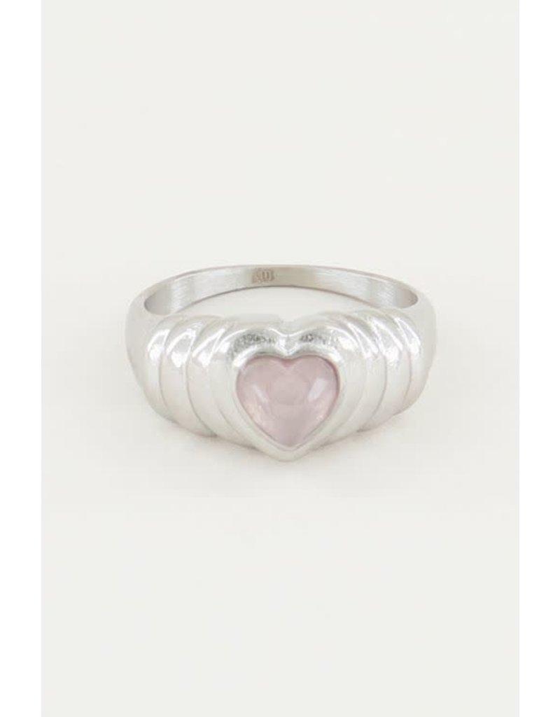 My Jewellery Ring hart - Rozenkwarts steen - Zilver