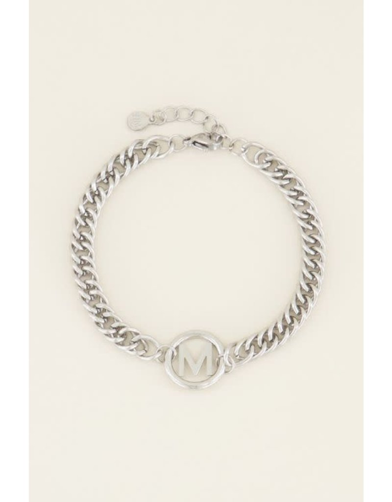 Armband Chunky Initials - Zilver - Letter A