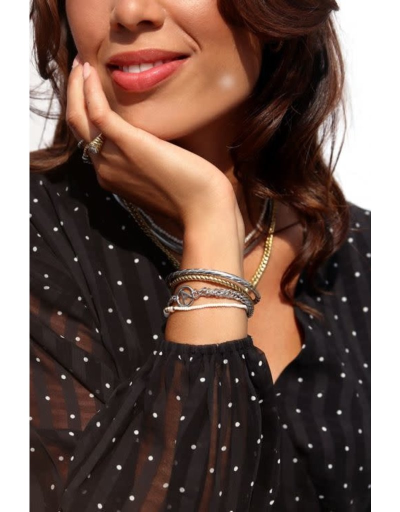 Armband Chunky Initials - Zilver - letter M