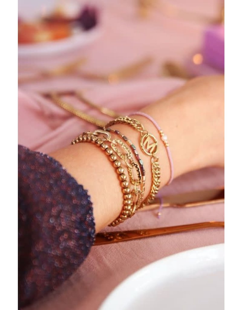 Armband Chunky Initials - Goud - Letter K