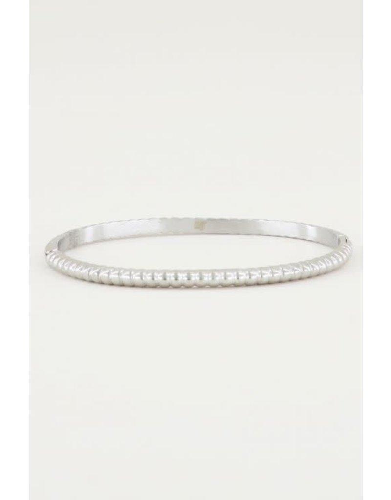 Armband Bangle Geribbeld Smal - Zilver