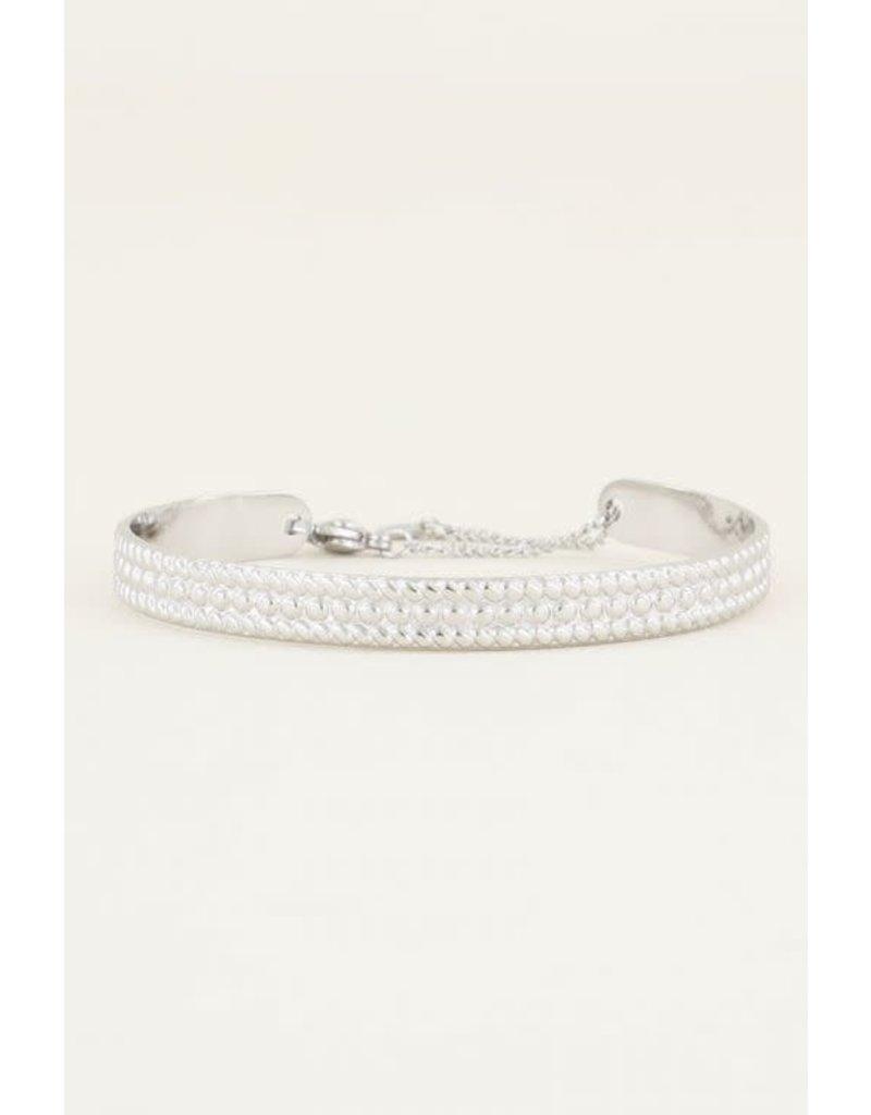 Armband Bangle met Bolletjes - Zilver