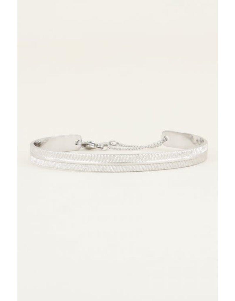 Armband Bangle met Streepjes - Zilver