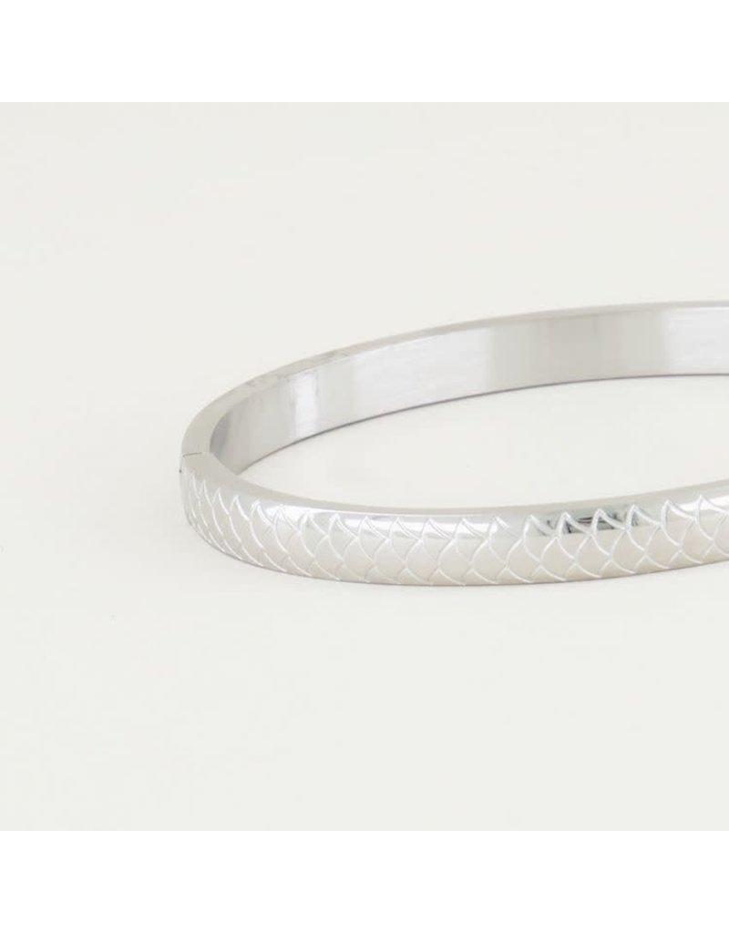 My Jewellery Armband Bangle Schubben Breed - Zilver