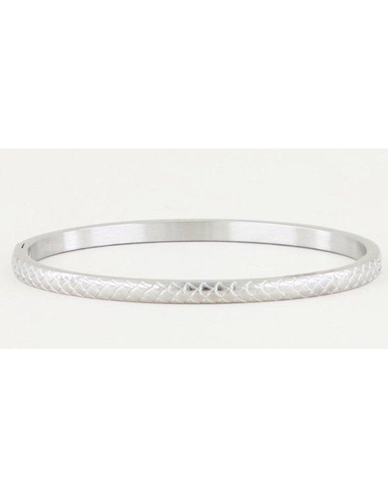 Armband Bangle Schubben Smal - Zilver