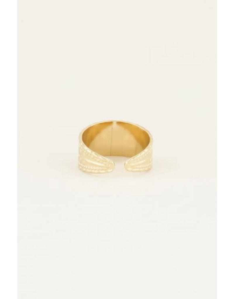 My Jewellery Ring Breed met Patroon - Goud