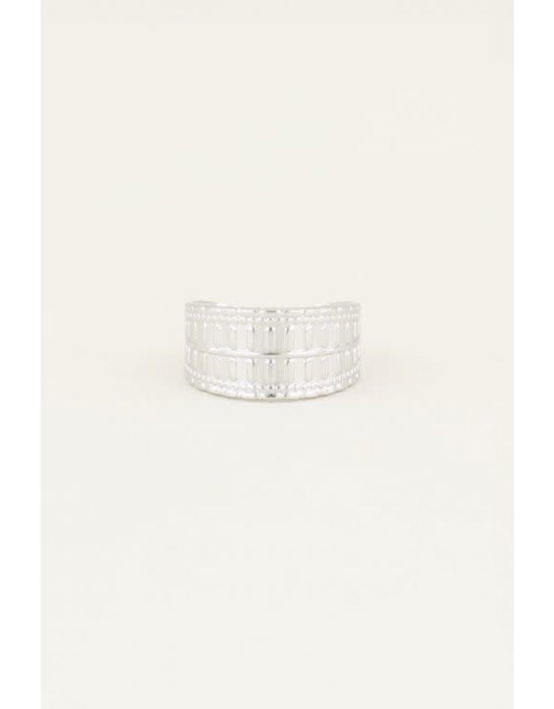 My Jewellery Ring Breed met Patroon - Zilver