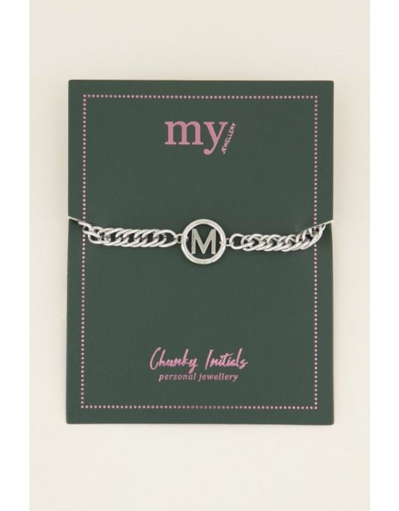 My Jewellery Armband Chunky Initials - Zilver - Letter N
